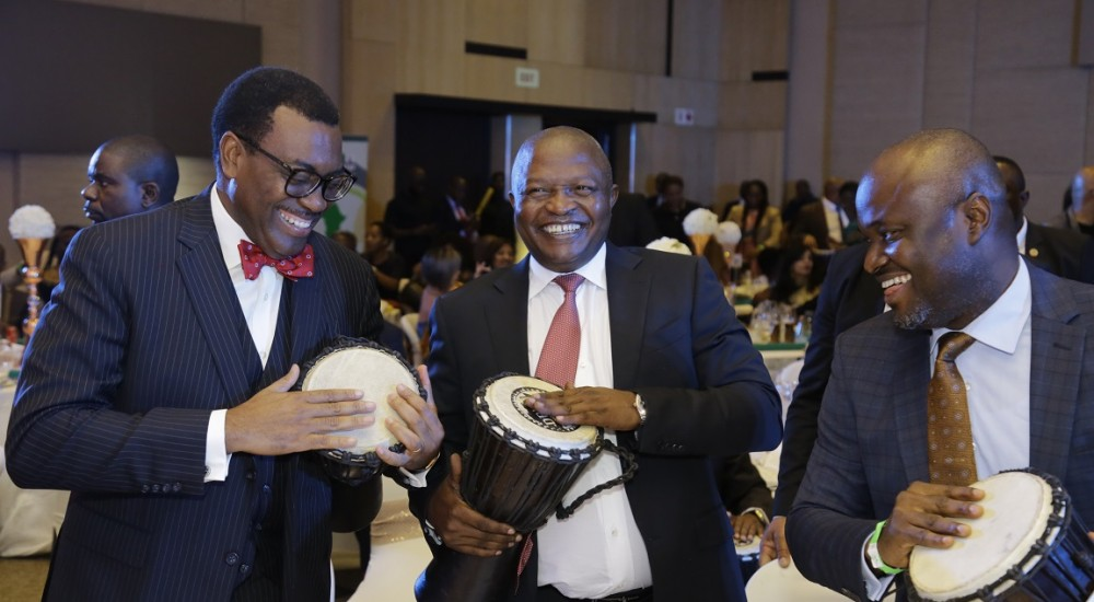 African Development Bank President, Dr. Akinwunmi A. Adesina, Deputy President of South Africa David Mabuza, and Founder Africa Leadership Council, Ken Giami at an ALC event in Johannesburg, South Africa.