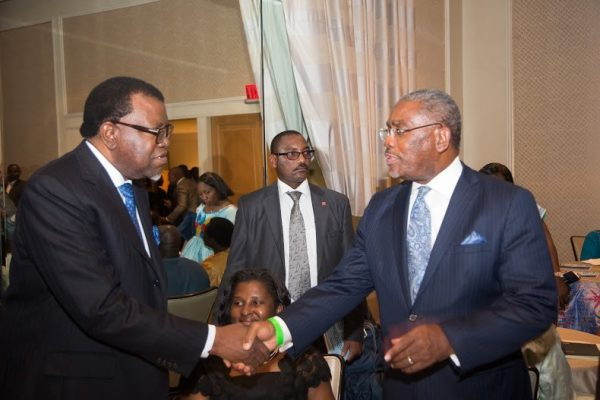 Namibian President, Dr. Hage Geingob and US Congressman Gregory Meeks at an ALC event in Washington DC.